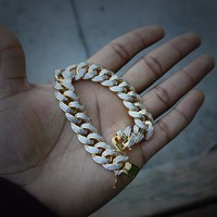 Iced Out Micropavé Cuban Link Bracelet (14mm)
