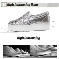 STQ 2017 Autumn women sneakers shoes bling Leopard leather suede slip on casual shoes high increasing platform flats shoes 2528