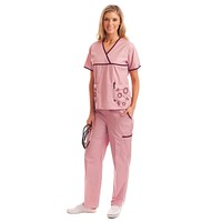 Women's Unique Floral Embroidery Medical Uniform