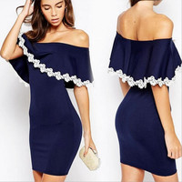 Blue Off the Shoulder Lace Ruffles Bodycon Dress