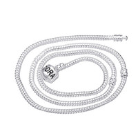 free shipping basis 925 silver plating Classic Pandora Snake chain love Necklaces Snap Clasp fit Europen Charms beads