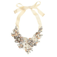 J.Crew Womens Crystal And Flower Bib Necklace
