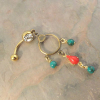 Gold Dangle Belly Button Jewelry Green Turquoise and Red Beaded Belly Button Ring