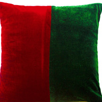 Decorative Throw Pillowcase in Red Green Velvet Christmas Decor Cushion Cover 16X16 Gifts Accent Pillow Sofa Pillows Couch Cushions