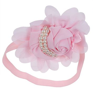 Pink Pearl and Flower Baby Headband - LAST CALL