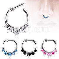 316L Surgical Steel Gemmed Princess Septum Clicker