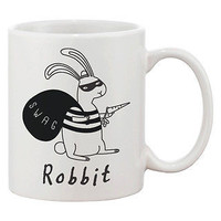 Funny and Cute Bunny Ceramic Coffee Mug - Robbit with Swag Bag 11oz Mug Cup