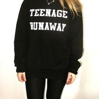 Cool Teenage Runaway One Direction or 1D Harry Styles black sweater