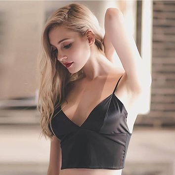 Women Sexy Satin Crop Tops Women Wireless Bralette Crochet Top Female Spaghetti Strap T-shirt Cropped With Chest Padded Camisole