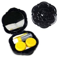 Rose Contact Lens Travel Kit (Black), Bonus Free Soft Microfiber Lens Cleaning Cloth