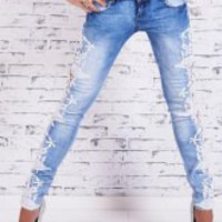 Blue Flower Pattern Jeans
