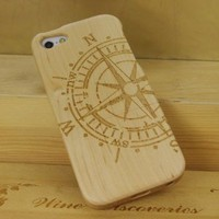 Compass Natural Handmade Hard Maple Wood Case Cover Protective Shell for Iphone 5