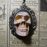 Skull Day of the dead large resin cameo human skull necklace pendant on 24 inch black oval link chain