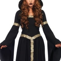 Women's Long Hooded Cloak with Embroidered Pagen Witch Halloween Costume