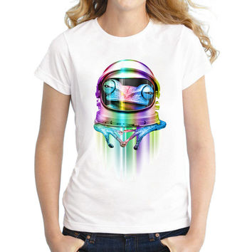 Newest 2017 Women Short Sleeve T-Shirt Astrofrog Printed Lady Tops Funny Girl's T Shirts