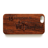 Vintage Disney Ticket Natural wood handmade precise laser engraved iPhone case WA010