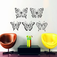 5 Butterfly Wall Decal Mandala Decal Boho Stickers Vinyl Decal Art Mural Home Interior Design Bohemian Bedding Decor Living Room Decal KY141