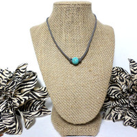 Turquoise dark grey suede leather choker necklace, turquoise knotted genuine leather, turquoise bead, suede leather cord, gift
