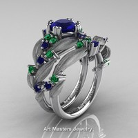 Nature Classic 14K White Gold 1.0 Ct Blue Sapphire Emerald Leaf and Vine Engagement Ring Wedding Band Set R340SS-14KWGEMBS