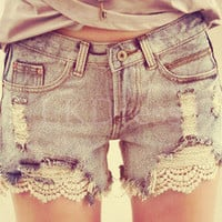 Lace With Floral Jeans Short [5082]