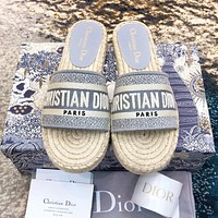 DIOR Fashionable Women Jacquard Embroidery Slippers Sandals Shoes