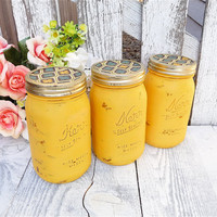 SHABBY JAR CANISTERS - Set of 3 Mason Jars Turned Kitchen Canisters in Yellow