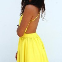 Neon Yellow Doll Dress with Low Criss-Cross Back