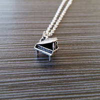 Silver Piano Necklace - Pianist Charm Necklace - Personalized Necklace - Custom Gift - Initial Necklace - Music Necklace - Organ Necklace