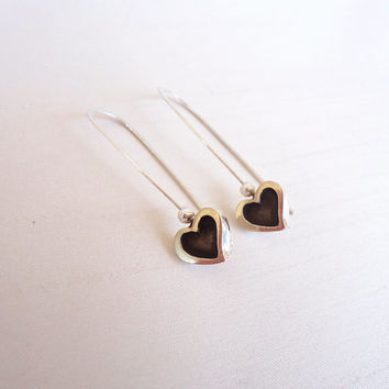 Hearts Sterling Silver Long Earrings - Little hearts in silver and black earrings - Contemporary Jewelry