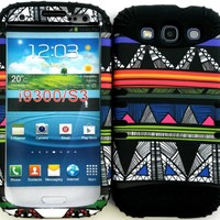 Hybrid Impact Rugged Cover Case Colorful Tribal Aztec Pattern Hard Plastic Snap on on Black Skin for Samsung Galaxy Slll S3 Fits Sprint L710, Verizon I535, At&t I747, T-mobile T999, Us Cellular R530, Metro PCS and All