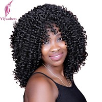 Yiyaobess 40cm 1# African American Hair Medium Curly Wigs For Women Heat Resistant Synthetic Afro Black Wig
