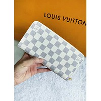 LV Tide brand classic models women's wild long zipper wallet White
