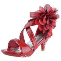Kids Dress Sandals Strappy Patent Leather Flower High Heel Shoes Red SZ