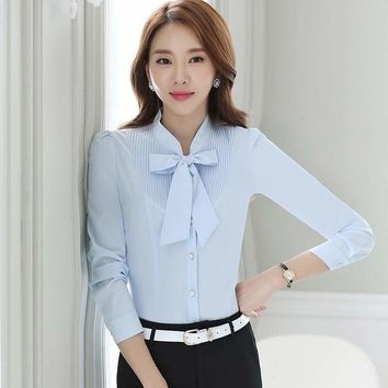 Front Tie Shirts  Pleated Blouse Work Weary Bow Female Ruffle Blouse