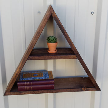 Wood Triangle Shelf - Rustic Wood Floating Geometric Shelving