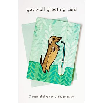 Get Well Soon Greeting Card – Dachshund Card – Get Well Card
