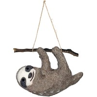 """Hanging Sloth   5"""" x 3.25""""   Made of Felt   Hang in Car or on Holiday Tree"""
