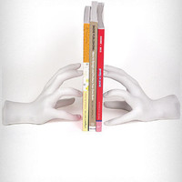 Sculptural White Hands Bookends   PLASTICLAND
