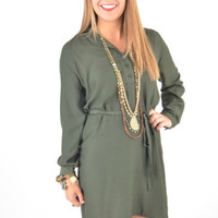 OLIVE Collared DRESS With Self-Tie Waist