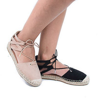 Maldives03S Beige Braided Lace Up Cut Out Ankle Cuff Espadrille Flats