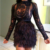 Latest Design Fashion Feathers Sexy Cocktail Dresses With Lace Applique High Neck Long Sleeve Short Party Prom Dress Gowns