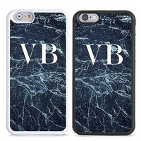 PERSONALISED MONOGRAM NAVY MARBLE INITIALS HARD CASE COVER FOR MOBILE PHONES