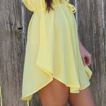 Simple Button Down Dress- Yellow