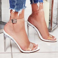Women Zip-up buckle film clear crystal high heels sandals shoes