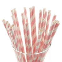 Candy Striped Paper Straws, 7-3/4-inch, 25-pack, Light Pink/White