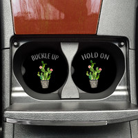 Cactus Buckle Up Holde On Car Coaster, Cactus Lover, New Car Driver, Cactus cup holder coaster, Succulent Mug, Funny Car coaster, (CAR00033)