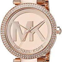 Michael Kors Mid-Size Rose Goldtone And Stainless Steel Parker Three-Hand Glitz Watch