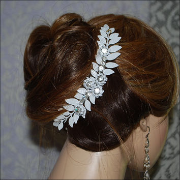 Grecian Leaf Rhinestone Wedding  Hair Accessories Piece Leaves Boho Bridal  Bride Hairpiece  Woodland Winter Outdoor Enamel Choose Finish
