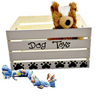 Dog Toy Box - Personalized Hand Painted Crate - Puppy Toy Chest - Pet Toy Box - Pet Storage - Pet Supplies - Large Breed Dog Toys
