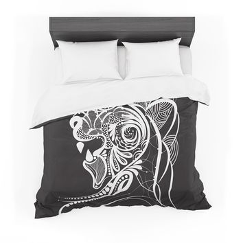 "Maria Bazarova ""Kind Lion"" Black White Featherweight Duvet Cover"